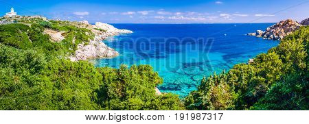 Landscape of Capo Testa, Azure sea bay with granite rocks, Sardinia - Italy