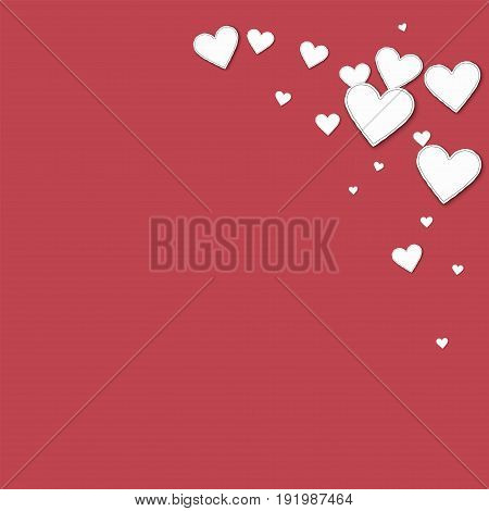 Cutout Paper Hearts. Top Right Corner On Crimson Background. Vector Illustration.