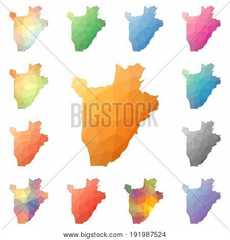 Burundi Geometric Polygonal, Mosaic Style Maps Collection. Bright Abstract Tessellation, Low Poly St