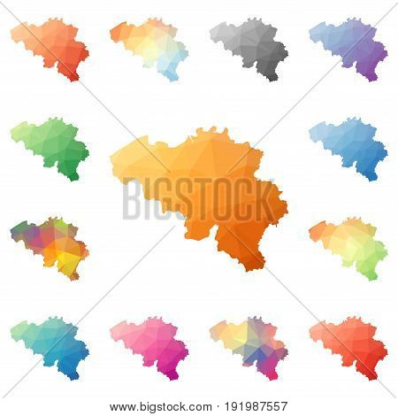 Belgium Geometric Polygonal, Mosaic Style Maps Collection. Bright Abstract Tessellation, Low Poly St