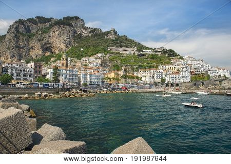 AMALFI, ITALY - MAY 21, 2017: picturesque landscape in the  Amalfi, Gulf of Salerno, Italy