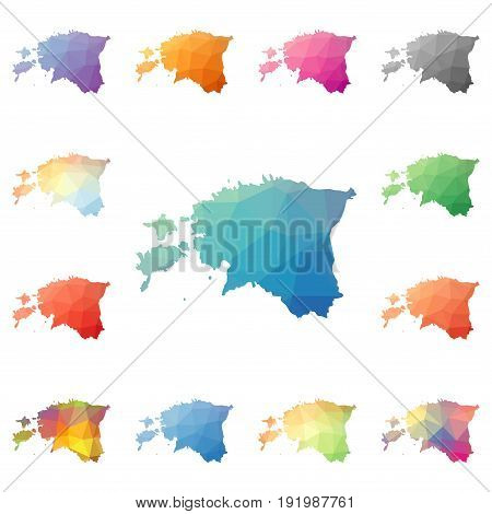 Estonia Geometric Polygonal, Mosaic Style Maps Collection. Bright Abstract Tessellation, Low Poly St