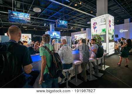 Cologne, Germany, August 13, 2014: Electronic arts pavilion on gamescon. Gamescom is a trade fair for video games held annually at the Koelnmesse in Cologne.