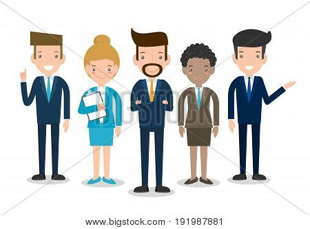 Business People Group Diverse Team, Business team of employees and the boss, businessman and businesswoman, vector illustration