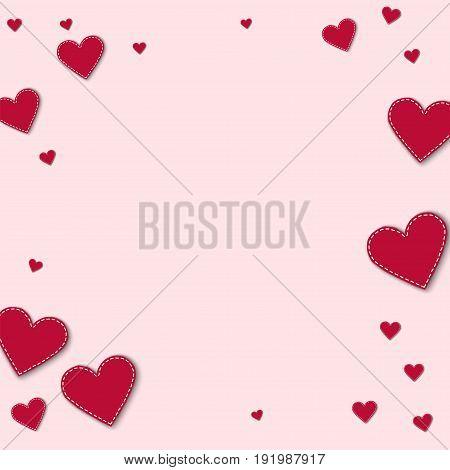 Red Stitched Paper Hearts. Bordered Frame On Light Pink Background. Vector Illustration.