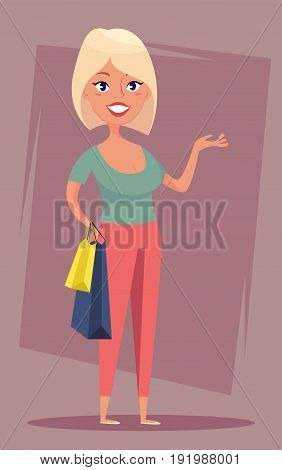 Cheerful blond girl with shopping bags. Sale buyer shopper. Funny cartoon character. Stock vector.