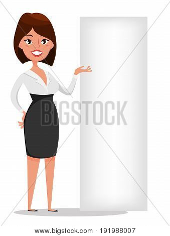 Businesswoman cartoon character standing near blank banner. Modern beautiful business woman in office clothes. Stock vector.