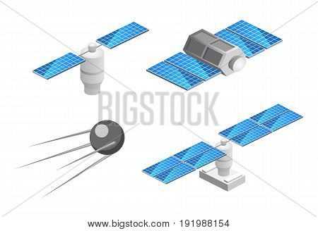 Isometric flat 3D isolated concept space GPS satellite. Wireless satellite technology. World global net.