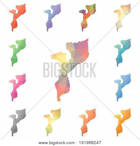 Mozambique Geometric Polygonal, Mosaic Style Maps Collection. Bright Abstract Tessellation, Low Poly