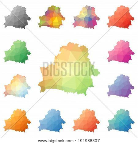 Belarus Geometric Polygonal, Mosaic Style Maps Collection. Bright Abstract Tessellation, Low Poly St