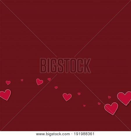 Cutout Red Paper Hearts. Bottom Wave On Wine Red Background. Vector Illustration.
