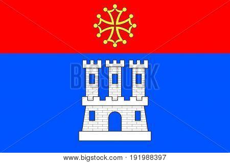 Flag of Castelsarrasin is a commune in the Tarn-et-Garonne department in Occitanie region of France. Vector illustration