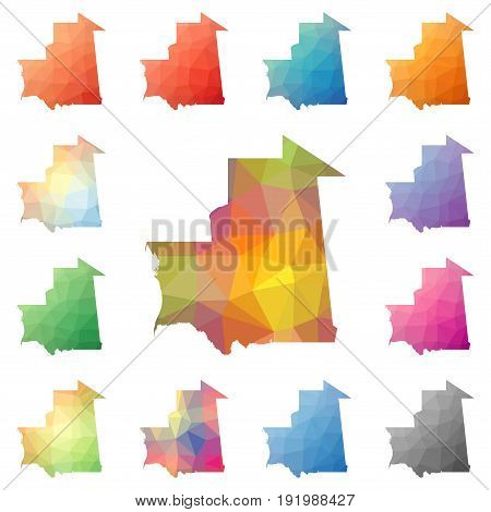 Mauritania Geometric Polygonal, Mosaic Style Maps Collection. Bright Abstract Tessellation, Low Poly