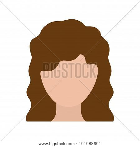 colorful silhouette faceless woman with wavy medium hairstyle vector illustration