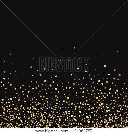 Gold Confetti. Scatter Bottom Gradient On Black Background. Vector Illustration.