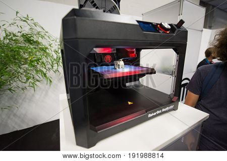 Cologne, Germany, August 13, 2014: 3D Printer on gamescon. Gamescom is a trade fair for video games held annually at the Koelnmesse in Cologne.
