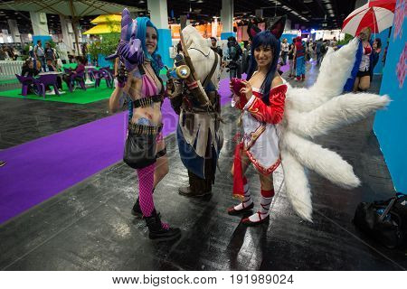 Cologne, Germany, August 13, 2014: Cosplay village on gamescon. Gamescom is a trade fair for video games held annually at the Koelnmesse in Cologne.