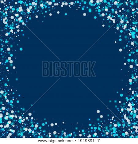 Beautiful Falling Snow. Corner Frame With Beautiful Falling Snow On Deep Blue Background. Vector Ill