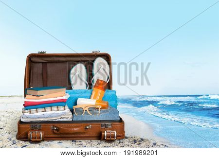 Objects travel retro suitcase for vacation leisure