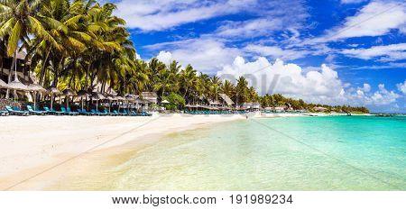 amazing long white sandy beaches of Mauritius island. Tropical holidays