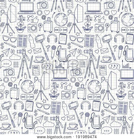 Blog object seamless pattern on squared paper. Vector wallpaper with blogging and media elements for covers, web banners, coloring books.