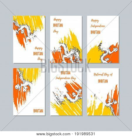 Bhutan Patriotic Cards For National Day. Expressive Brush Stroke In National Flag Colors On White Ca