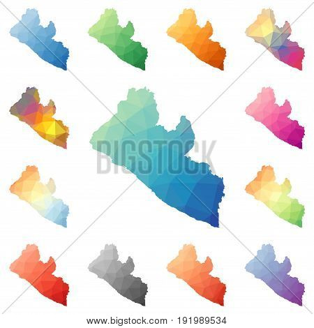 Liberia Geometric Polygonal, Mosaic Style Maps Collection. Bright Abstract Tessellation, Low Poly St