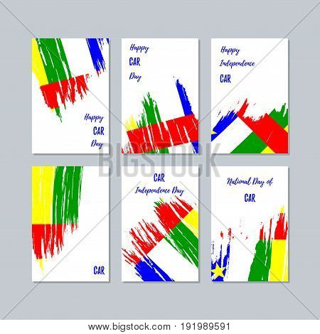 Car Patriotic Cards For National Day. Expressive Brush Stroke In National Flag Colors On White Card