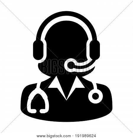 Woman Doctor Icon Vector With Online Consultation And Support Wearing Headphone Contacting Physician