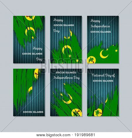 Cocos Islands Patriotic Cards For National Day. Expressive Brush Stroke In National Flag Colors On D