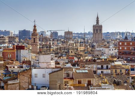 view of Valencia historical center from Quart Towers Spain