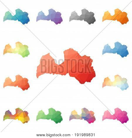 Latvia Geometric Polygonal, Mosaic Style Maps Collection. Bright Abstract Tessellation, Low Poly Sty
