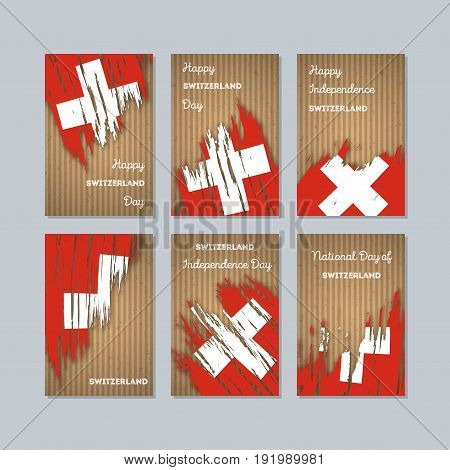 Switzerland Patriotic Cards For National Day. Expressive Brush Stroke In National Flag Colors On Kra