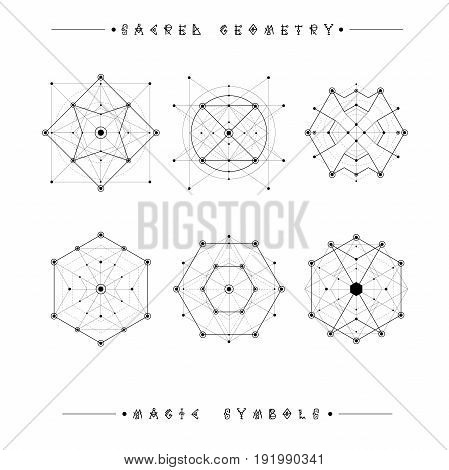 Sacred geometry signs. Set of symbols and elements. Alchemy, religion, philosophy, spirituality, hipster symbols and elements. geometric shapes