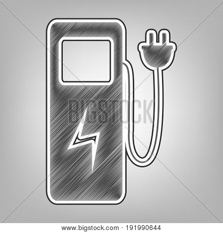 Electric car charging station sign. Vector. Pencil sketch imitation. Dark gray scribble icon with dark gray outer contour at gray background.