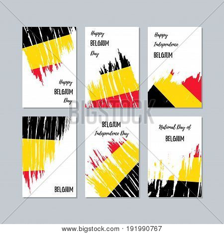 Belgium Patriotic Cards For National Day. Expressive Brush Stroke In National Flag Colors On White C