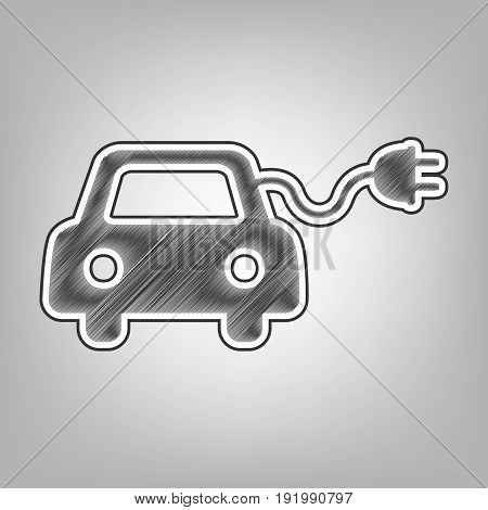 Eco electric car sign. Vector. Pencil sketch imitation. Dark gray scribble icon with dark gray outer contour at gray background.