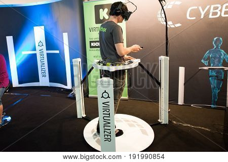 Cologne, Germany, August 13, 2014: VR Virtualizer presentation on gamescon. Gamescom is a trade fair for video games held annually at the Koelnmesse in Cologne.