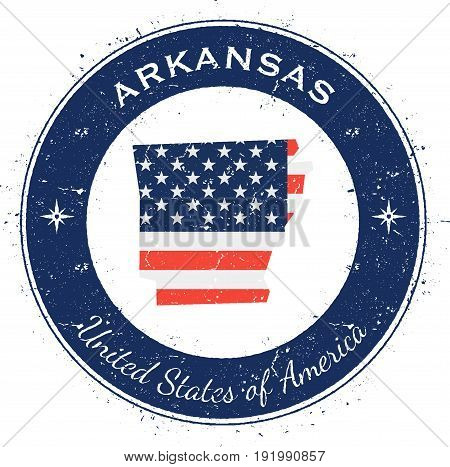 Arkansas Circular Patriotic Badge. Grunge Rubber Stamp With Usa State Flag, Map And The Arkansas Wri
