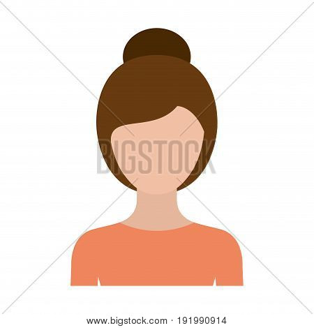 colorful silhouette faceless half body woman with collected hairstyle vector illustration