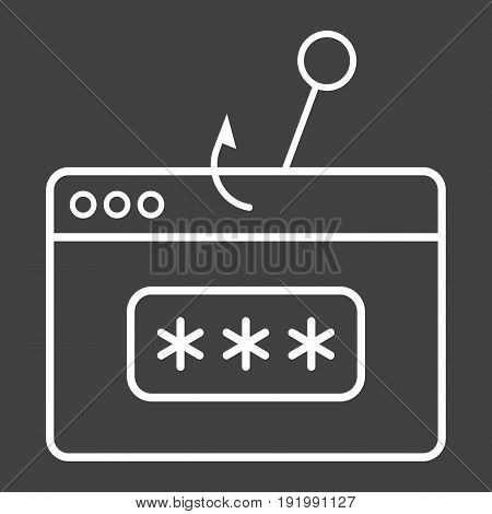 Password phishing line icon, security and hack, vector graphics, a linear pattern on a black background, eps 10.