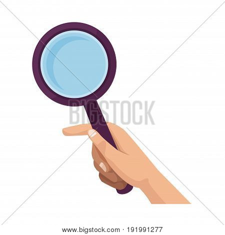 hand holding magnifier icon ilustration vector search
