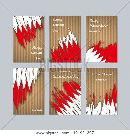 Bahrain Patriotic Cards For National Day. Expressive Brush Stroke In National Flag Colors On Kraft P