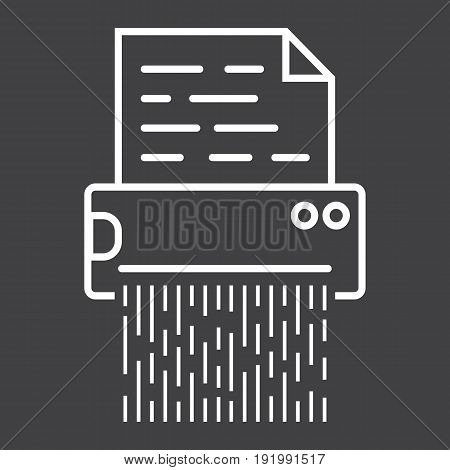 Document shredder line icon, destroy file and confidential, vector graphics, a linear pattern on a black background, eps 10.