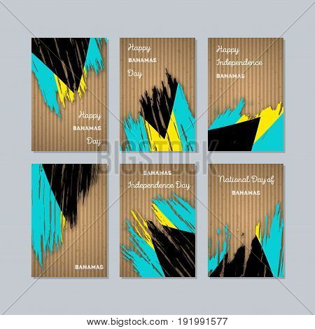 Bahamas Patriotic Cards For National Day. Expressive Brush Stroke In National Flag Colors On Kraft P