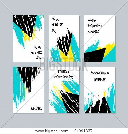 Bahamas Patriotic Cards For National Day. Expressive Brush Stroke In National Flag Colors On White C