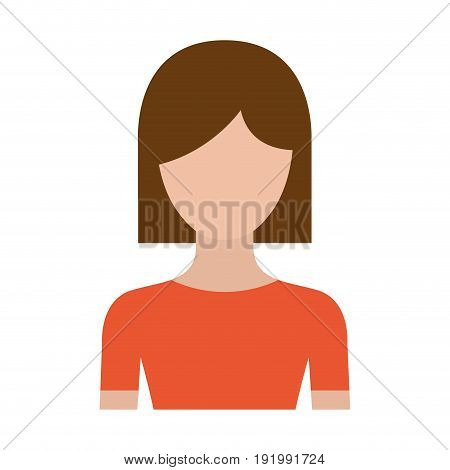 colorful silhouette faceless half body woman with straight short hairstyle vector illustration