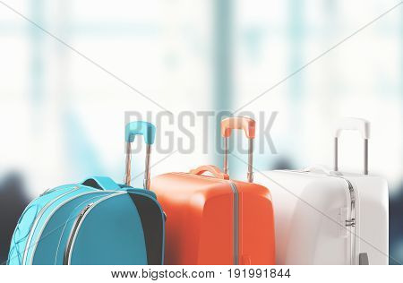 Luggage, suitcases in airport, 3d render illustration