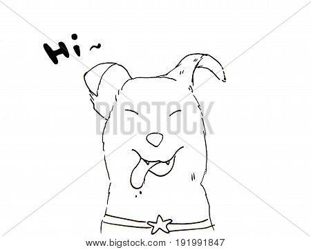 Hand Drawn dog sketch on white background.