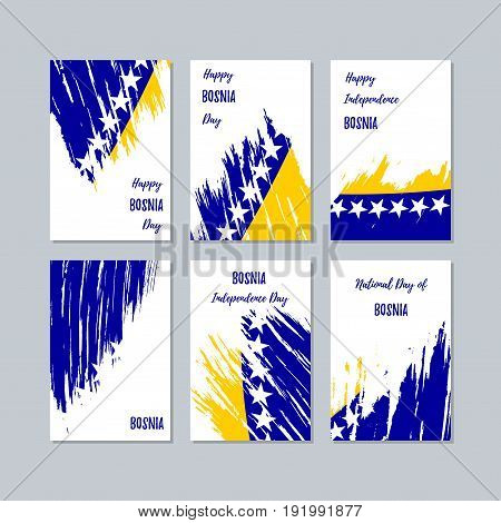 Bosnia Patriotic Cards For National Day. Expressive Brush Stroke In National Flag Colors On White Ca